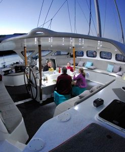 liveaboard sailing catamaran cockpit